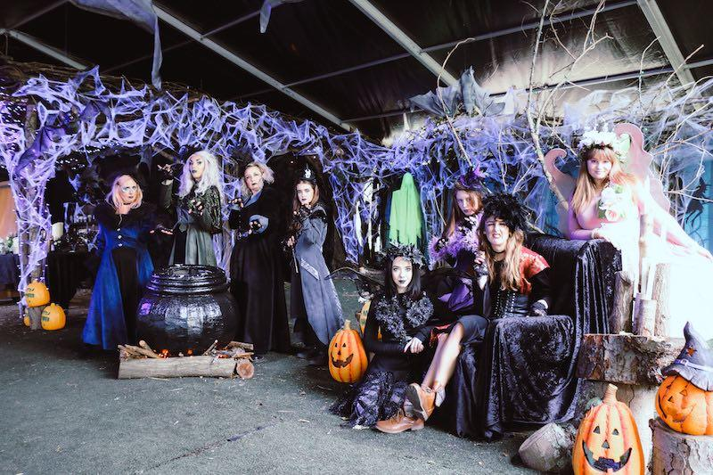 The team of witches at Audley end for Halloween at Audley End Miniature Railway