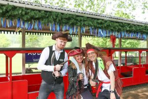 station master pirates at the audley end miniature railway Mermaid and Pirate Festival