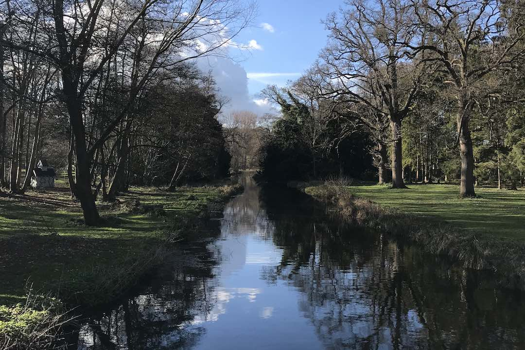 river cam at the audley end miniature railway spring time